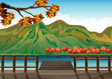 A seaport overlooking the mountains. Illustration of a seaport overlooking the mountains Stock Photography