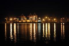 Seaport på den sena aftonen Royaltyfria Foton