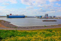 Seaport and pier  in the Gulf of Finland. Royalty Free Stock Photos