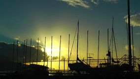 Seaport Poles and Clouds. In sunset video stock footage