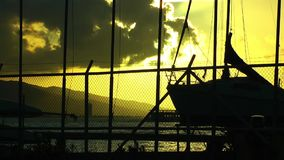 Seaport Poles and Clouds. In sunset video stock video