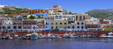 Seaport in Ponza island. This photo was taken at Ponza in Italy. Ponza is the largest of the Pontine islands. Ponza is a beautiful island. It is located in front royalty free stock image