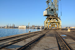 Seaport and port cranes. Burgas, Bulgaria Royalty Free Stock Image