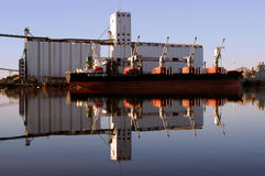 Seaport Red Ship Reflection Stock Photo