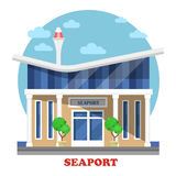 Seaport at seasight building exterior view. Cruise or dry, warm-water or fishing, inland port on river. Facade of maritime and naval, marine structure or Stock Image