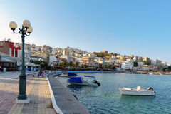 Seaport of Sitia town with moored traditional Greek fishing boats Stock Photography
