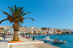 Seaport of Sitia town with moored traditional Greek fishing boats Royalty Free Stock Photography
