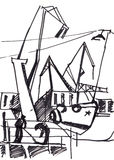 Seaport sketch Stock Images