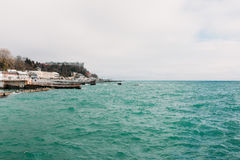 Seaport Sochi view from the sea stock images
