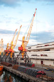 Seaport and tower cranes Royalty Free Stock Images