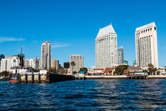 Seaport Village and Tuna Harbor Dockside Market in San Diego. SAN DIEGO, CALIFORNIA - MARCH 2, 2017: Seaport Village, Tuna Harbor Dockside Market pier, and the royalty free stock photo