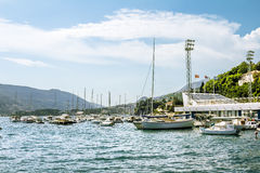 Seaport with yachts in the town of Herceg Novi Stock Photo