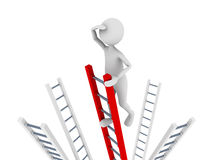 Search. Concept representing man climbing to the top of the ladder and ing Stock Photo