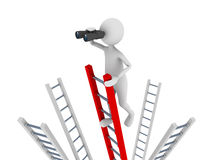 Search. Concept representing 3D man climbing to the top of a ladder and ing with the help of binoculars Stock Image