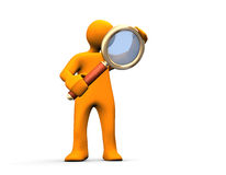 Search. Orange cartoon with loupe isolated on white Stock Photo
