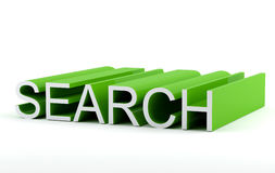 Search. Seach text in 3D green color Stock Images