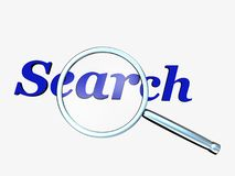 Search. With magnifying glass Stock Photography