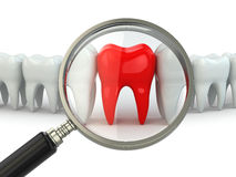 Search aching tooth in row of healthy teeth. Stock Photography