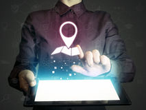Search of addresses and contacts of organizations. Stock Photo