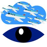 Search for Airplane Flights Blue Eye Logo Vector stock photography