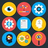 Search analyze and do flat circle icons Royalty Free Stock Image
