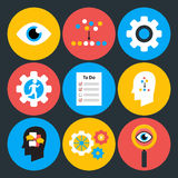 Search analyze and do flat circle icons Royalty Free Stock Images