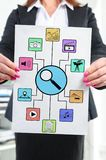 Search for apps concept shown by a businesswoman Stock Images