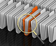 Search Archives. 3D render illustration of magnifying glass focusing on archive folders Stock Image