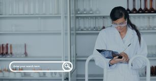 Search bar against woman at the laboratory photo Stock Photos