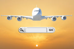 Search bar in browser and airplane Stock Photography