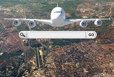 Search bar in browser and airplane Stock Photos