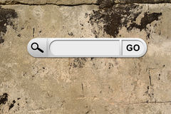 Search bar in browser. On background of aged brown cemented wall royalty free stock photos