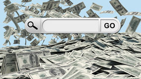 Search bar in browser. Dollars falling to the stack of dollars as backdrop royalty free stock photos
