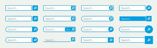 Search bar buttons and input. 16 type of input search bar and buttons in cyan azure color in  format Stock Image