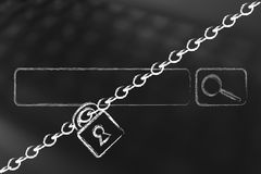 Search bar with lock and chain, privacy and information technolo. Search bar with lock and chain, concept of access denied to informatioon Stock Photo