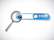 Search bar under a magnify glass. Illustration design over a white background Stock Images