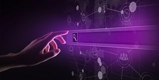 Search bar on virtual screen. Internet and technology concept. stock images
