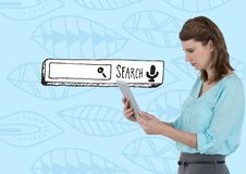 Search Bar with woman on tablet Royalty Free Stock Photography