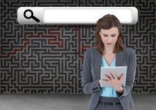 Search Bar with woman on tablet Royalty Free Stock Images