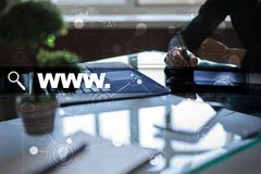 Search bar with www text. Web site, URL. Digital marketing. Business, internet and technology concept. Royalty Free Stock Image