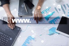 Search bar with www text. Web site, URL. Digital marketing. Business, internet and technology concept. Stock Photography