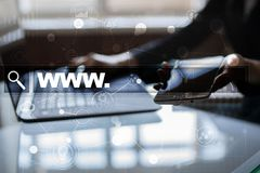 Search bar with www text. Web site, URL. Digital marketing. Business, internet and technology concept. Stock Images