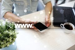 Search bar with www text. Web site, URL. Digital marketing. Business, internet and technology concept. Search bar with www text. Web site, URL. Digital Royalty Free Stock Images