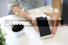Search bar with www text. Web site, URL. Digital marketing. Business, internet and technology concept. Search bar with www text. Web site, URL. Digital Stock Image