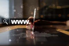 Search bar with www text. Web site, URL. Digital marketing. Stock Photo