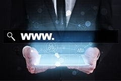 Search bar with www text. Web site, URL. Digital marketing. Stock Images
