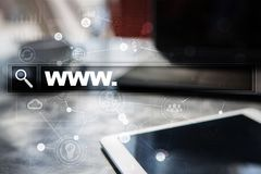 Search bar with www text. Web site, URL. Digital marketing. Royalty Free Stock Images