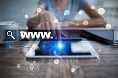 Search bar with www text. Web site, URL. Digital marketing. technology concept. Stock Photo