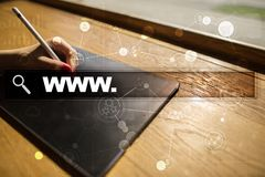 Search bar with www text. Web site, URL. Digital marketing. technology concept. Royalty Free Stock Photography