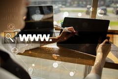 Search bar with www text. Web site, URL. Digital marketing. technology concept. Royalty Free Stock Photos